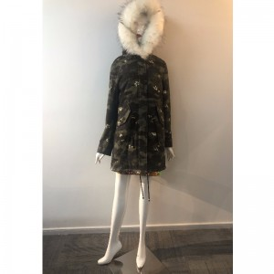 CAMO HOODED COAT DAMES RLWPC0034